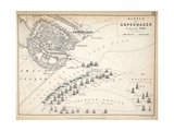 Map of the Battle of Copenhagen, Published by William Blackwood and Sons, Edinburgh and London,… Giclee Print by Alexander Keith Johnston