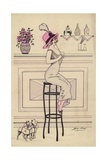 Woman Sitting on a Bar Stool Drinking Through a Straw Giclee Print by Xavier Sager