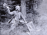 Wwi German Stormtroop Officer Demonstrating the Use of Cluster Grenades Against Tanks and… Photographic Print