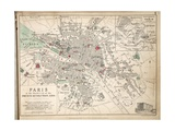 Map of Paris at the Outbreak of the French Revolution, 1789, Published by William Blackwood and… Giclee Print by Alexander Keith Johnston