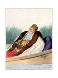 Ali Pacha De Janina in a Boat on Lake Butrinte in 1819 - Plate Vii, Engraved by Lemercier from… Giclee Print by Louis Dupré