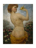 Naked Woman with a Bird in the Green, 1881 Giclee Print by Olaf Isaachsen