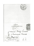 Envelope with Drawings from Stéphane Mallarmé to Méry Laurent, 1890 Giclee Print by Stephane Mallarme