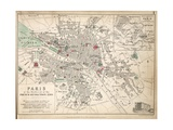 Map of Paris at the Outbreak of the French Revolution, 1789 Giclée-tryk