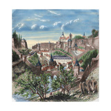Luxembourg. 19th Century. View of the City. Colored Engraving Giclee Print