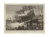 Launching of the Prince of Wales, Man of War, before their Majesties at Portsmouth Giclee Print by Joshua Cristall