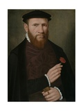 Portrait of a Man with His Right Hand Holding a Red Carnation and in His Left a Glove, 1540-51 Giclee Print by  Master of the 1540s