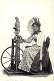 Woman Seated at a Spinning Wheel Photographic Print