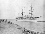 Troopship 'Crocodile' Passing Through the Suez Canal, C. 1870s Photographic Print by Brothers Zangaki