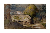 Landscape with a Barn, Shoreham, Kent Giclee Print by Samuel Palmer