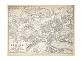 Map of the Battle of Zurich, Published by William Blackwood and Sons, Edinburgh and London, 1848 Giclee Print by Alexander Keith Johnston