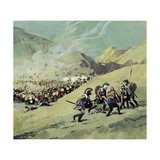 Leonidas and 300 Spartans Hold Back the Persian Army Giclee Print by Ferdinando Tacconi
