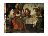 Abraham Entertaining the Three Angels, C.1620 Giclée-Druck von Jacopo Vignali