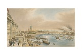Somerset House, St Paul's Cathedral and Blackfriars's Bridge from Waterloo Bridge, C 1840 Giclee Print by William Parrott