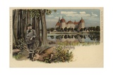 Postcard Depicting a Man with a Shot Stag with Moritzburg Castle in the Background Giclee Print by German School