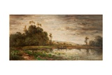 River Scene at Sunset, 1875 Giclee Print by Charles Francois Daubigny