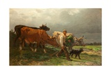 Breton Lad with Cattle Giclee Print by Julius Caesar Ibbetson