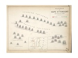 Map of the Battle of Cape St. Vincent, Published by William Blackwood and Sons, Edinburgh and… Giclee Print by Alexander Keith Johnston