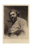 Gustave Courbet, French Painter of the Realist Movement. Etching by Etienne Gabriel Bocourt Giclee Print by Etienne Gabriel Bocourt