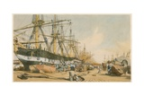 West India Docks, from the South East Giclee Print by William Parrott