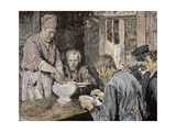 Family Having Lunch. Engraving Giclee Print