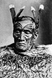 Portrait of a Maori Man, before 1880 Photographic Print