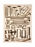 Builders' Tools, Engraved by Martino Schede Giclee Print by Francesco Rostagni