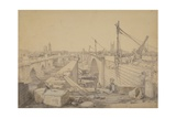 The Construction of London Bridge, 1830 Giclee Print by Edward William Cooke