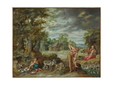 Adam at Work in a Field, from the Story of Adam and Eve Giclee Print by Jan the Younger Brueghel