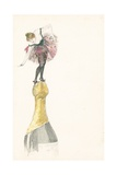 A Woman Standing on the Top of a Champagne Bottle Giclee Print