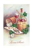 French New Year Card Wydruk giclee