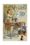 Woman Holding Parrot Next to Sewing Machine Giclee Print
