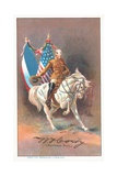 Buffalo Bill Riding a White Horse Giclee Print by Adrian Jones