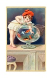 A Young Child with a Fishing Net Reaches into a Goldfish Bowl Reproduction procédé giclée