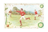 Postcard with Men Playing Rugby Giclee Print