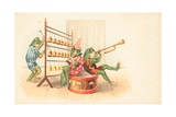 A Group of Musical Frogs Giclee Print