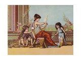 Roman Lady and Children Giclee Print