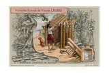 Robinson Crusoe Building His Hut Giclee Print