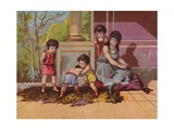Roman Lady with Children Playing Giclee Print
