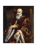 Portrait of a Venetian Senator, Seated Three-Quarter Length, Wearing a Red Velvet Cloak Giclee Print by  Palma Il Giovane
