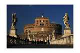 Italy. Rome. Saint Angelo Bridge and Hadrian's Mausoleum Giclee Print