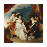 Group Portrait of Mrs Henry Baring and Two of Her Children and a Large Dog, a Landscape Beyond,… Giclée-tryk af Sir Thomas Lawrence