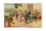 The Cueca Dance and a View of Valdivia Giclee Print