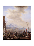 A Mediterranean Seaport with a Man Drinking at a Fountain, Galley Slaves, Merchants and Dock Hands Giclee Print by Johannes Lingelbach