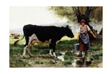 A Milkmaid with Her Cow Giclee Print by Julien Dupre