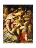 The Holy Family with the Infant Saint John the Baptist and Saint Catherine Giclée-tryk af Lavinia Fontana