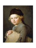 Portrait of a Young Boy, Half-Length, Wearing a Grey Coat and Cap Giclee Print by Nicolas-bernard Lepicie