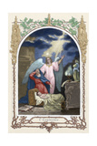 Saint Monica (331-387 A.D.) Trusting God Saves Her Son. Allegory About Hope. Colored Engraving Giclee Print