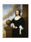 Portrait of a Lady, Standing Three-Quarter Length, Wearing a Black Satin Dress with White Lace Trim Giclee Print by Isaac Luttichuys