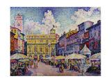 The Herb Market, Verona; La Place Aux Herbes, Verone Gicléetryck av Paul Signac